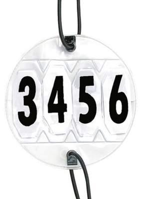 HKM Turniernummern 1 Paar, verstellbar, weiß