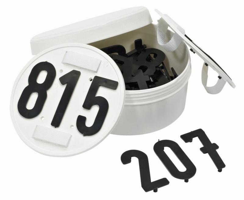 BUSSE Startnummern RUND, steckbar, 3-stellig, rund, weiß
