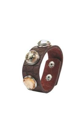 HKM Armband -braun, Hufeisen, Mosaik + 2 Knöpfe-, 19 cm Armumfang, 2,4 cm breit, braun