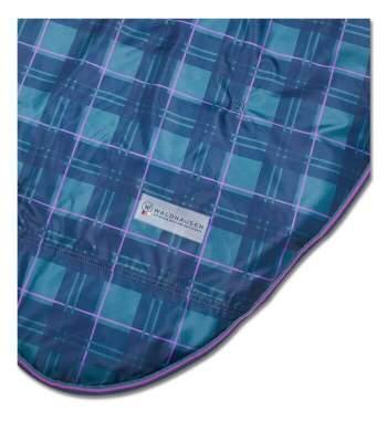 WALDHAUSEN Outdoordecke Comfort High Neck, 200g, Rückenlänge 135 cm, opalgrün/nachtblau kariert