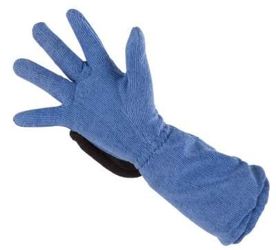 KERBL Mikrofaser-Pflegehandschuh, blau/grau