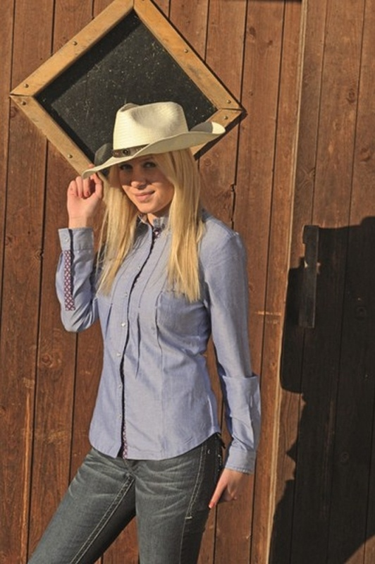 HKM TEXAS Westernbluse -Denim-