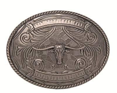HKM TEXAS Gürtelschnalle -Texas Longhorn-, silber