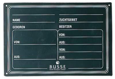 BUSSE Abstammungstafel PVC, 29,5 x 20 cm, schwarz