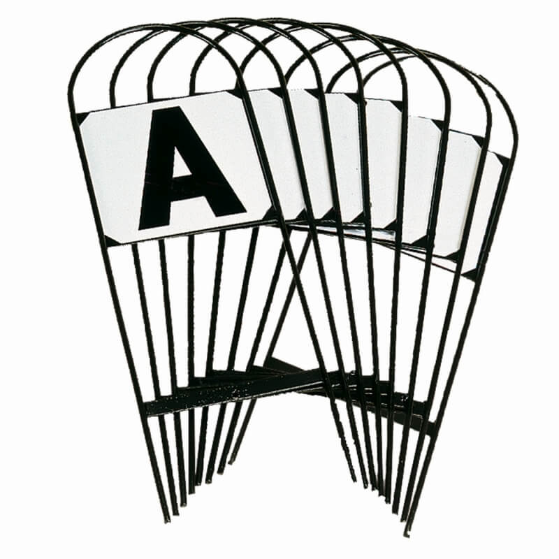 8er Set Dressurviereck schwarz weiss steckbar Metall neu Hufschlagbuchstaben