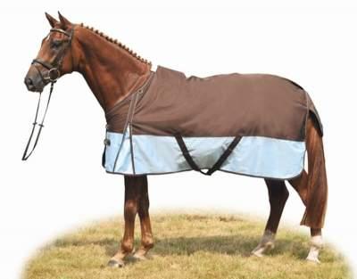 HKM Weidedecke -Professional- mit Polarfleecefutter, Rückenlänge 105 cm, dunkelbraun/hellblau