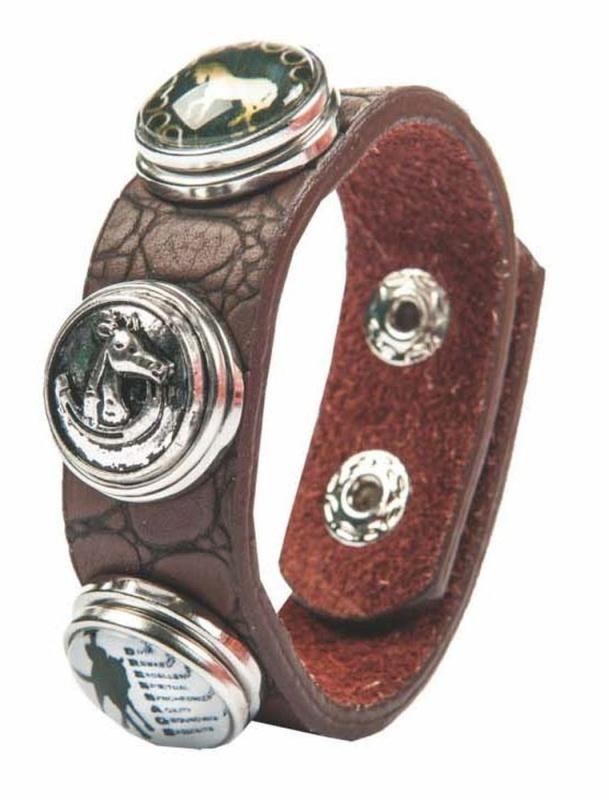 HKM Armband -Reiter,Pferdekopf, Pferd/Eisen + 2 Knöpfe, 16 cm Armumfang, 1,8 cm breit, braun