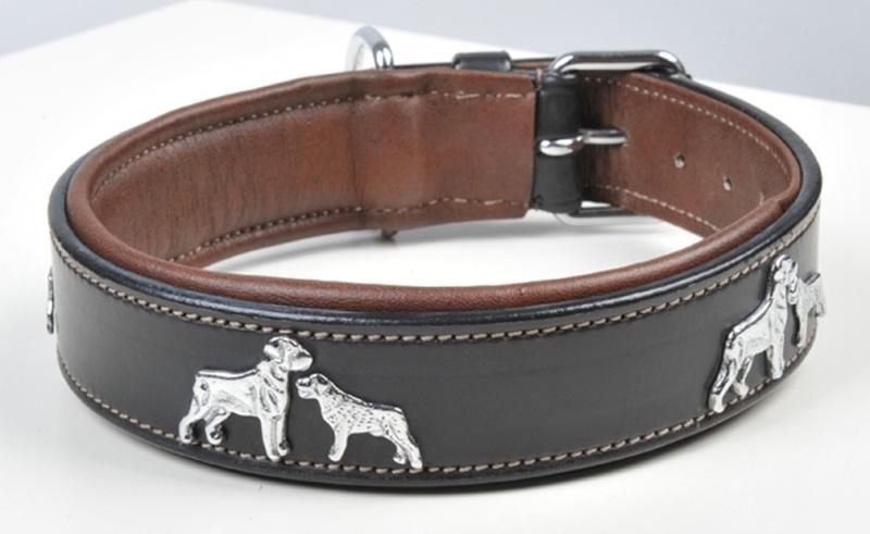 HKM Lederhundehalsband -Dogs-, Länge bis mittleren Loch 35 cm, schwarz