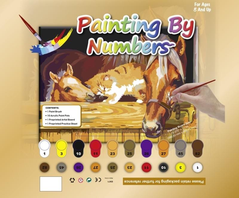 HKM Malen nach Zahlen -Pferde mit Katze-
