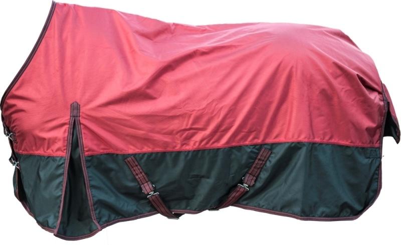 HKM Weidedecke -Premium 1680D- mit Polarfleecefutter, Rückenlänge 115 cm, weinrot/schwarz