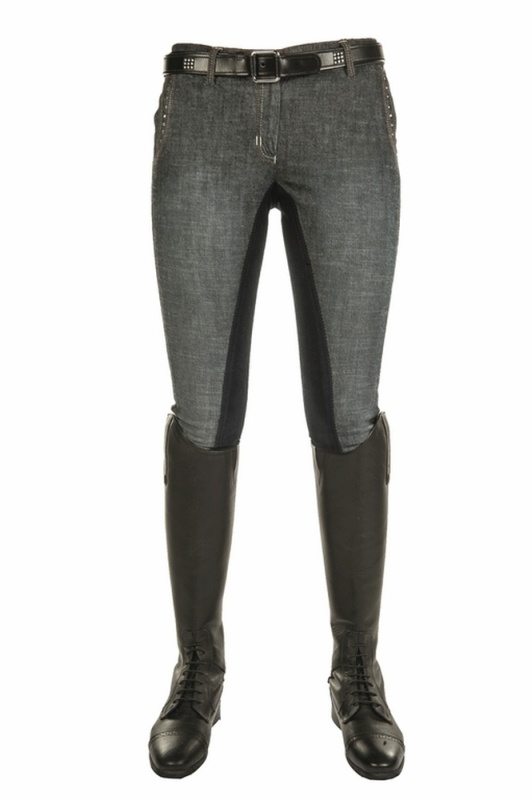 HKM Jeansreithose -Elegance- Dreiviertel Alos Besatz