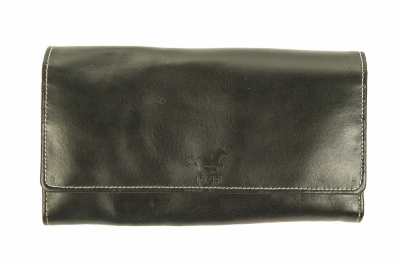 HKM Damen Geldbörse groß (21 x 12 x 3 cm), schwarz