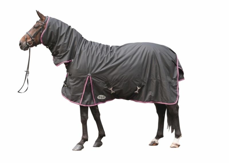 HKM Combo Weidedecke -REFLEX- mit 300gr. Wattefüllung, Rückenlänge 135 cm, schwarz/pink