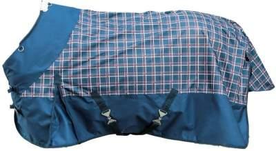HKM Weidedecke -Professional Karo- mit Polarfleecefutter, Rückenlänge 145 cm, navy/rot Karo